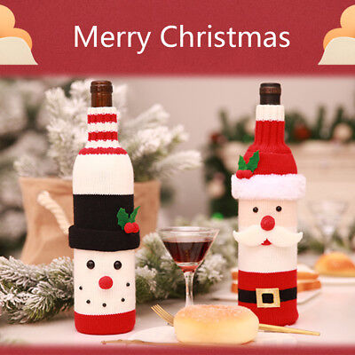1/2/5Pc Christmas Red Wine Bottle Cover Bag Snowman Santa Claus Xmas Table Decor