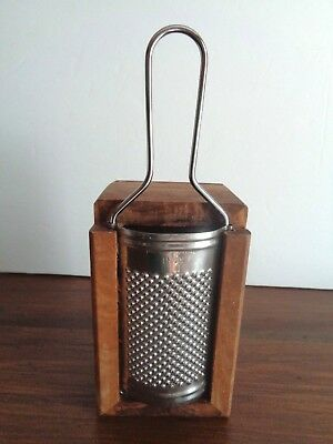 Inox Stainless Cheese Grater With Olive Wood Box  * Italy