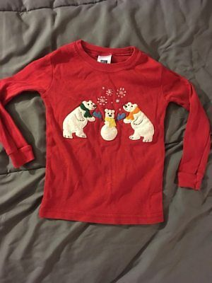 BABY GAP Polar Bears Toddler Red Long Sleeve Shirt Size 2 Years CUTE! FAST!