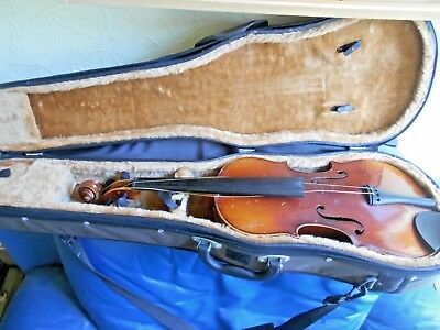 !!!  Violin, Bow  & Modern Case.  Good Condition. Full Size? See Dimensions. !!!