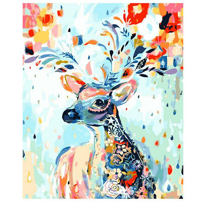 DIY Colorful Reindeer Deer Canvas Oil Painting Picture By Number Kits Wall Decor