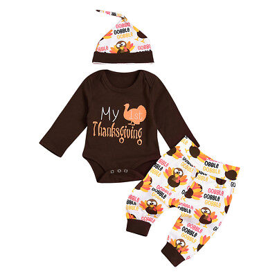 Toddler Boys Girls 1st Thanksgiving Turkey Romper Pants Hat Costume Outfits Sets