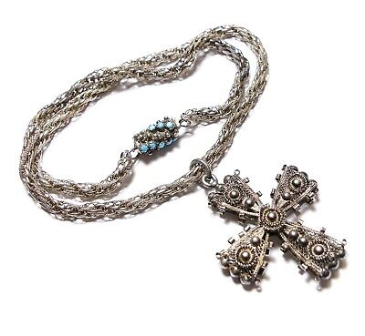 Beautiful Old Antique Georgian Silver & Turquoise Crucifix Necklace Chain (B4)