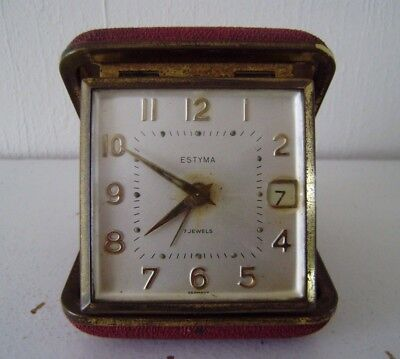 Clock Estyma 7 Jewels German Vintage Travelling Alarm Date Collectible Clocks