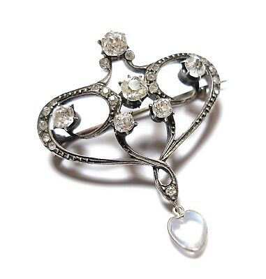 Beautiful Old Antique Edwardian Silver, Moonstone & Paste Stone Brooch Pin  (B6)