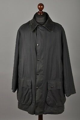 Men's BARBOUR Border Vintage Waxed Cotton Navy Blue Jacket Coat Size C44 112cm