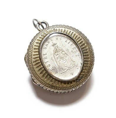 Beautiful Old Small Antique Victorian Silver French Locket Pendant (B8)