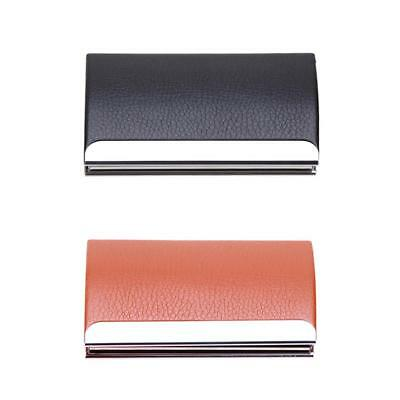 #QZO Business Card Holders Curve Shape PU Leather Stainless Steel Card Case