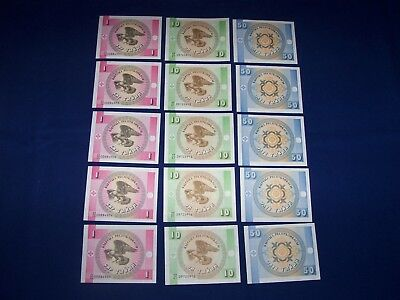 Lot of 15 Krygystan Bank Notes. Three Types