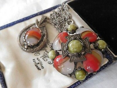 Lovely Colourful Vintage 1960s Scottish Agate Necklace & Brooch signed MIRACLE