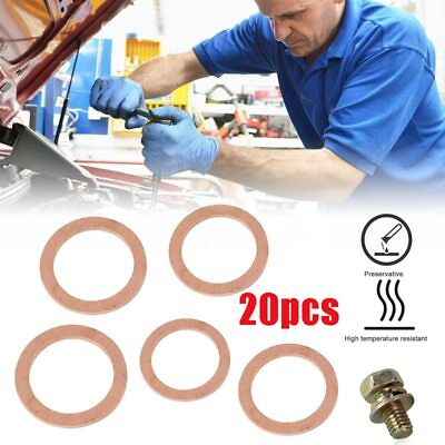 20PCS/Pack Copper Washer Solid Gasket Sump Plug Oil Seal Fittings 10*14*1MM Tool
