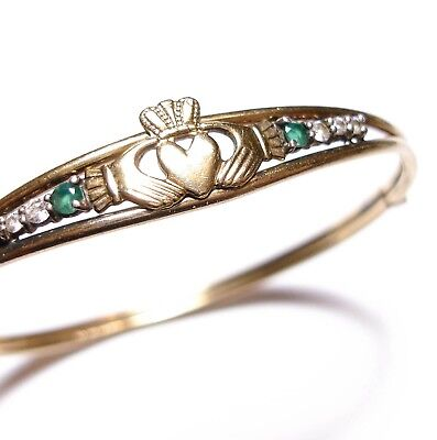 Beautiful Old Vintage Rolled Gold Claddagh Heart Celtic Bangle Bracelet  (B18)
