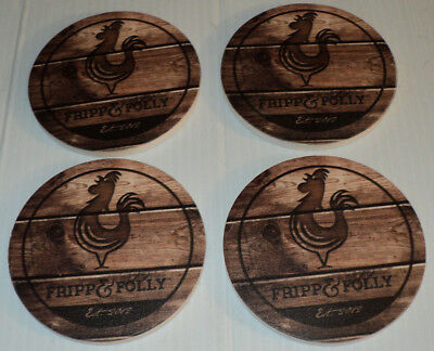 FRIPP & FOLLY Cock Rooster Chicken Bird ~ Stone Coaster Set of 4 ~ Brand New