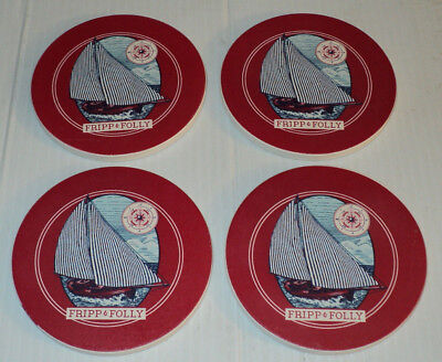 FRIPP & FOLLY Sailboat Sailing Boat Boating ~ Stone Coaster Set of 4 ~ Brand New