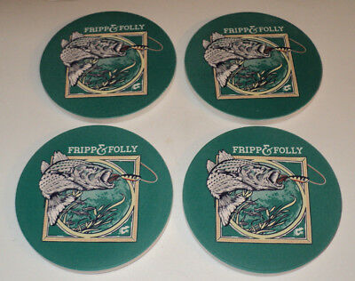 FRIPP & FOLLY Striper Bass Fish Fishing ~ Stone Coaster Set of 4 ~ Brand New FrS