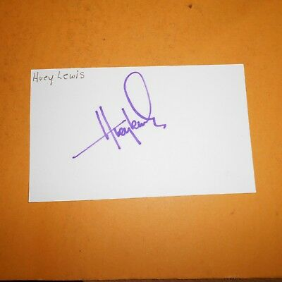 Huey Lewis, is an American singer, songwriter, and actor Hand Signed Index Card