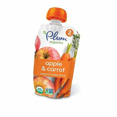 Plum Organics Stage 2, Organic Baby Food, Apple and Carrot, 4 ounce pouch (Pa...