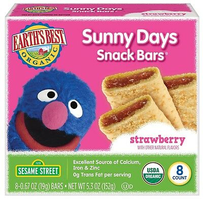 Earth's Best Organic Sunny Day Toddler Snack Bars with Cereal Crust, Made Wit...