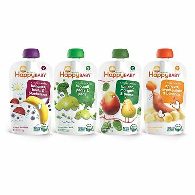 Happy Baby Organic Stage 2 Baby Food Simple Combos Variety Pack, 4 Ounce Pouc...