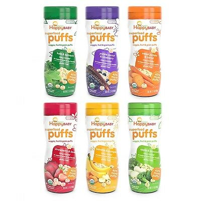Happy Baby Organic Superfood Puffs Assortment Variety Packs 2.1 Ounce (Pack o...