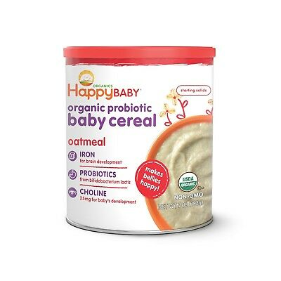 Happy Baby Organic Probiotic Baby Cereal with Choline Oatmeal, 7 Ounce Canist...