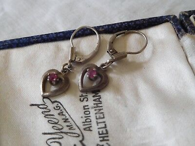 Dainty Vintage 1960s Sterling Silver Pink Crystal Drop Earrings