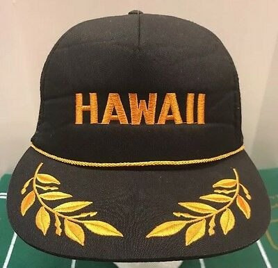 URBAN OUTFITTERS BDG Hawaii Trucker Cap Hat Captain Snapback Black Gold  Leaf NWT -  22.05  a0470912bf1