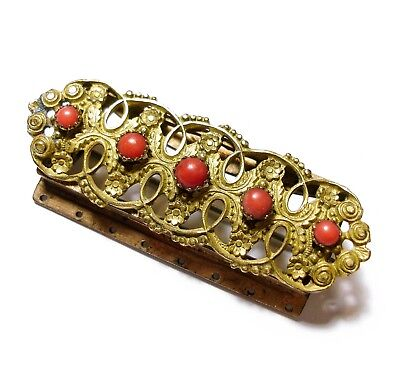Beautiful Antique Georgian Pinchbeck & Coral Jewellery Clasp Brooch Pin (B24)