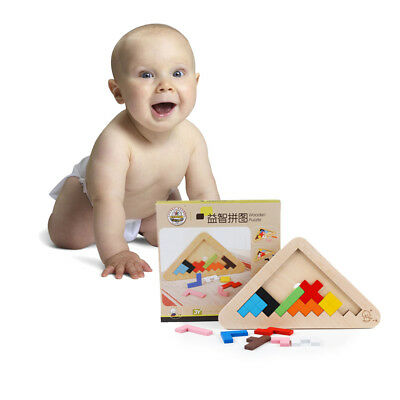 #QZO Wooden 3D Jigsaw Puzzle Early Educational Tangram Kids Brain Teaser Toy