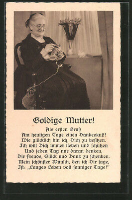 Ansichtskarte Goldige Mutter!, strickende Greisin 1937