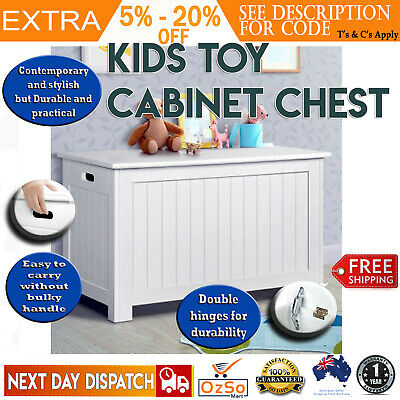 New KIDS TOY BOX WOODEN STORAGE BOXES Chest Cabinet Containers Clothes Blanket