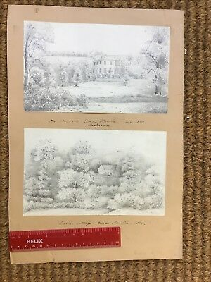 2 Pencil Sketches 1855 Ewias Harold Herefordshire