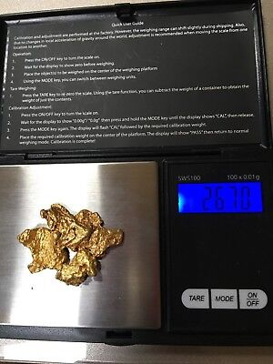3 California Gold Nuggets. Mint Condition. River washed. Weight 26.70 Grams
