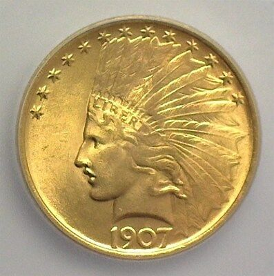 1907 Indian  Gold $10 Icg Ms65+ No Motto  Rare Type That Looks 66  Lists $8850