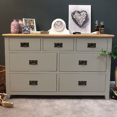 Painted Grey Oak Large Chest Of Drawers / 7 Drawer Solid Wood Chest / Woburn