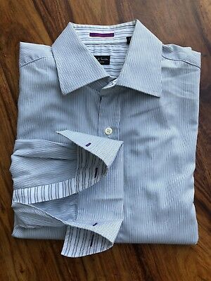 Mens Paul Smith London Long Sleeve Double Cuff Striped Shirt. 15.5 Collar