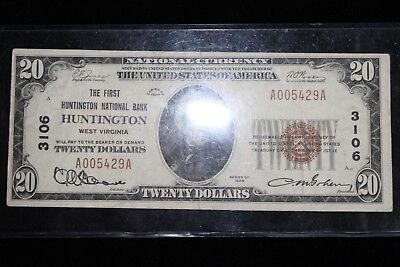 1929 Twenty 20 Dollar Bill The First Huntington National Bank Huntington VA
