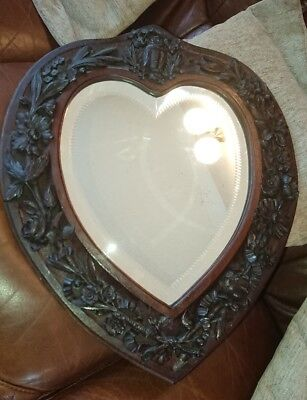 Good 19Th Century Black Forest Carved Wood Mirror.bevel & Cut Glass.owl, Flora