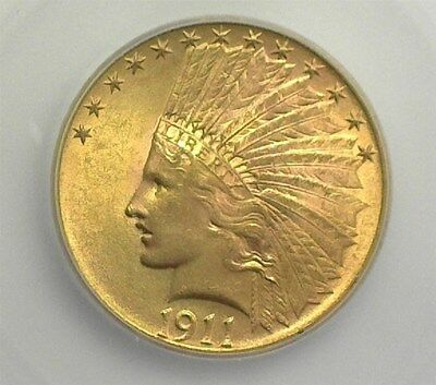 1911 Indian  Head Gold $10 Icg Ms64+   Looks 65  Lists For $2500