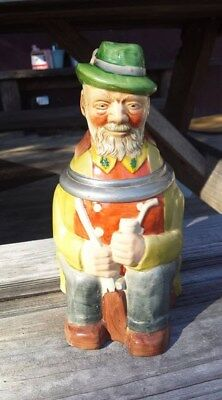 Ceramic Vintage German Character Beer Stein Hunter