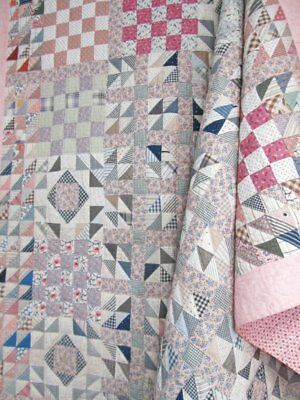 Thousands of Triangles! c 1930s Quilt Geese in the Pond & Flying VINTAGE GB-BEST