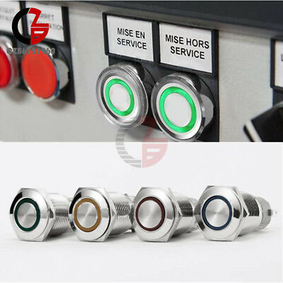 5Pin 19mm Waterproof Metal 12V LED Push Button Switch ON-OFF Car With Connector