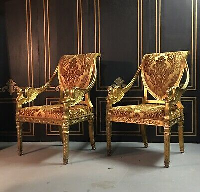 Pair French Empire Gilted Chairs Fauteuils