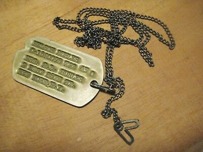 WWII 1942-43 Officers Brass Dog Tag Next of Kin Info & NOK Sterling Chain