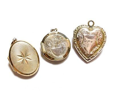 Collection Of Vintage 9Ct Gold Back & Front Lockets Job Lot Joblot (B30)