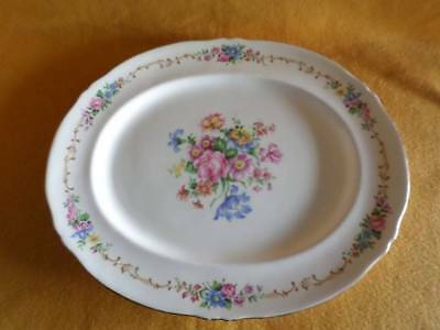 """Crown Staffordshire F16166A Oval Serving Platter 15.5"""" White With Gold Edging"""