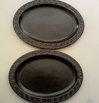 ULSTER CERAMICS IRELAND Dark Brown Celtic 12 in Oval Dinner Plate c1970 (6 avail