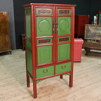 Armoire wardrobe closet wood painted chinoiserie lacquered furniture antique 900