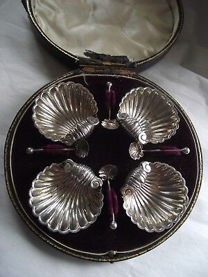 Antique Boxed Silver Set of 4 SHELL SHAPED Salt Cellars & Spoons