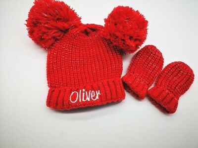 personalised Pom Pom hat & mitten set Baby Assorted Winter Hat Knitted hat 0-12m